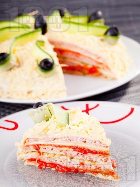 Солена палачинкова торта - снимка на рецептата